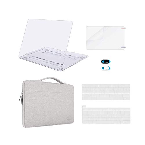 MOSISO Compatible with MacBook Pro 13 inch Case 2016-2020 Release A2338 M1 A2289 A2251 A2159 A1989 A1706 A1708, Plastic Hard Shell&Sleeve Bag&Keyboard Skin&Webcam Cover&Screen Protector,Clear&Gray