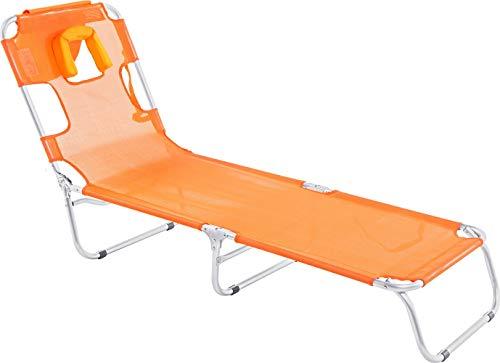 Cadeira Espreguiçadeira Mormaii Laranja Textilene Aluminio