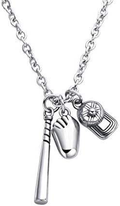 ZHHAOXINJE Titan Stahl Halskette, Baseball Halskette, Fashion Herren Baseball Handschuhe Hut Halskette Anhänger, Unisex Schmuck Halskette, Steel Color