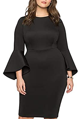 FUSENFENG Womens Plus Size Bell Sleeve Wear to Work Cocktail Party Sheath Dress
