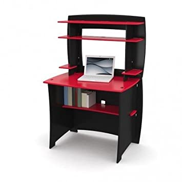 legare kids desk with hutch 36inch red and black