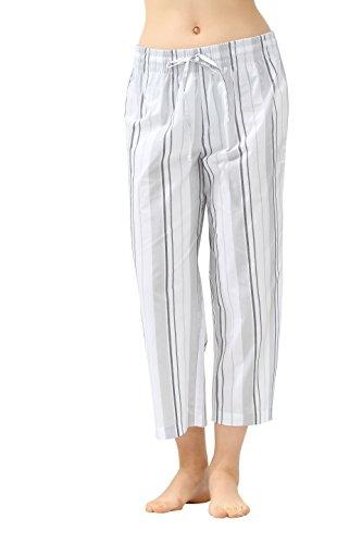 (CYZ Women's 100% Cotton Woven Pajama Capri-VoileSilverStripe-XL)