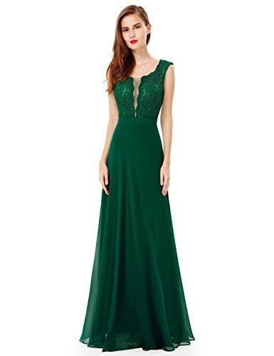 Ever Pretty de la mujer elegante cuello redondo largo vestido de fiesta 08628florido Verde