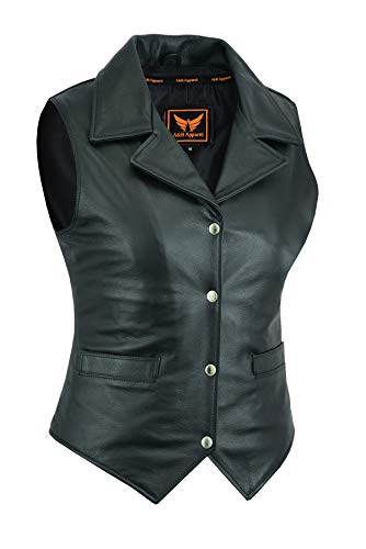 Women Motorcycle Biker Classic Vest Genuine Cowhide Leather Vest With Gun Pocket (X-Large)