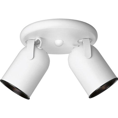 Progress Lighting P6149-30 2-Light Round Back Directional Metal Cylinder Style Light, White ()