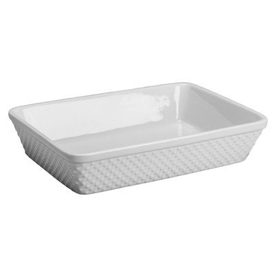 Hobnail Rectangle Baker Color: White ()