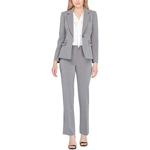Tahari by Arthur S. Levine Women's Petite Size Heather Grey Pebble Crepe One Button Pant Suit, 0P