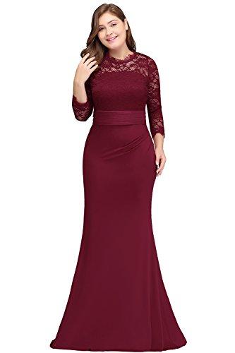 Women Mermaid Plus Size Formal Dress Dark Red