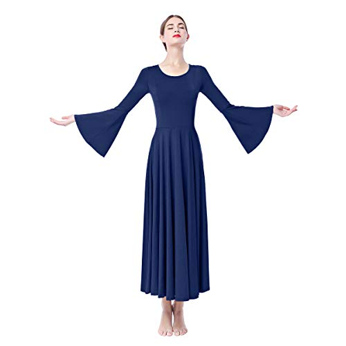 Women Adult Bell Long Sleeves Liturgical Praise Lyrical Dance Dress Solid Loose Fit Full Length Maxi Swing Gown Pleated Ruffle Tunic Circle Skirts Christian Worship Costume Praisewear Navy Blue S ()