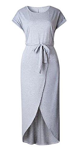 Cromoncent Occasionnel Des Femmes De Taille Empire À Manches Courtes O-cou Longues Robes De Plage Fendus Gris