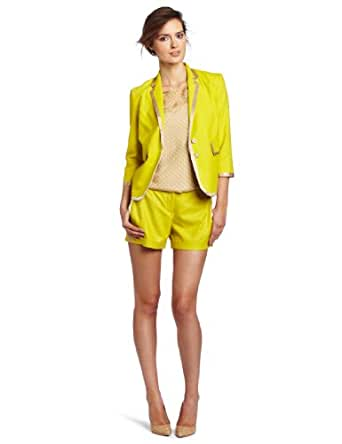 Robert Rodriguez Women's Cropped Piped Jacket, Citron, 0