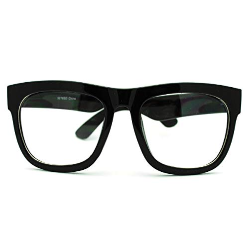 Black Bold Square Glasses Bold Thick Frame Clear Lens Men Women -