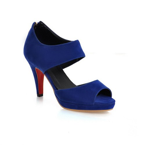 Chunky Open Heels PU Peep Heel Frosted Womens with Blue Sandals VogueZone009 Toe High Platform Zipper Solid n0HwTC5qx