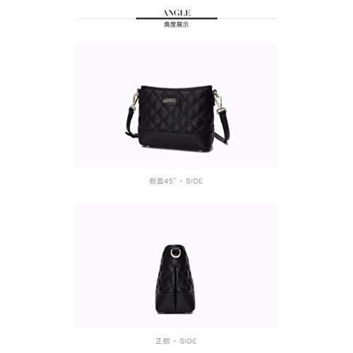 Compras Black Hombro de Multi Single Billetera Bolso Cartera Shoulder Bolsillo Largo Solo Bolso Bag de 7Ovnqx6