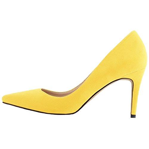 Chaussures Daim Travail De Femmes Escarpins Pointu HooH Jaune Mariage De w51Efnq