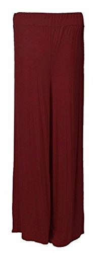 Plaine Jambe Large Pantalon Du Jersey Viscose Femmes Évasée Vin Palazzo Rqx4wqZ