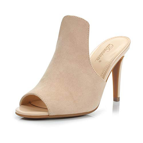 DUNION Women's Brody Comfortable Peep Toe Stiletto High Heel Dress Slip on Mules,Nude,8 B(M) ()