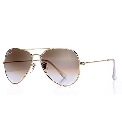 Metal Logo Aviator Sunglasses - Pro Acme Aviator Crystal Lens Large Metal Sunglasses (Gold Frame/Crystal Brown Gradient Lens)