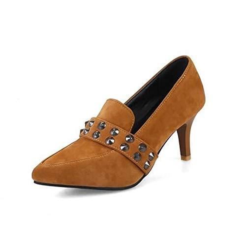 Bomba Stiletto Amarillo De Talón Tacones Marrón Zapatos Yellow QOIQNLSN Básica Suede Caer Mujer Negro nXP8qwZfq