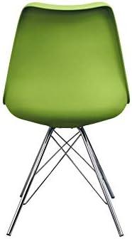 Fusion Living Eiffel Inspirado Silla Comedor Verde con Patas Metálicas Cromadas