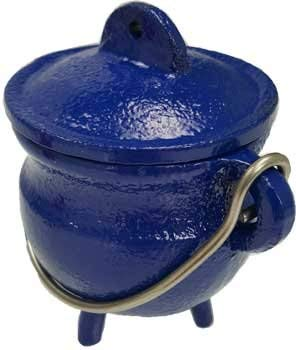 AzureGreen Fortune Telling Toys Cauldrons Bright Blue Cast Iron Three Legged with Handle and Lid 3'' by AzureGreen