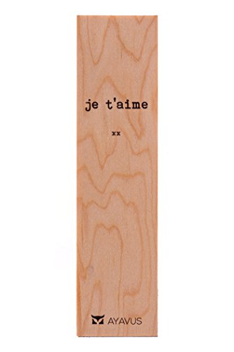 Je T'aime - I Love You in French Wood Bookmark French Wooden Bookmark Hipster Minimalist Quotes Valentines Day Romance Gift Made in - Hipster Wood
