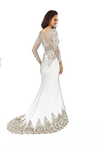Mieder Love Abendkleid Meerjungfrau Kleid Langarm Frauen Perlen Boden nge Spitze Sheer Abendkleid Applikationen King's Weiß L Strass FqwZCxZ1