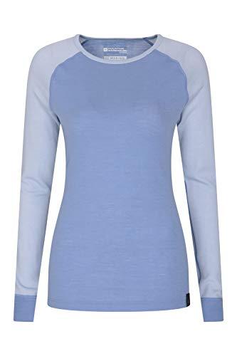 Mountain Warehouse Merino Baselayer-Thermotop für Damen - Leichtes, atmungsaktives Damen-T-Shirt, antibakterielle Bluse - Für Urlaub bei kaltem Wetter Winter Baselayer