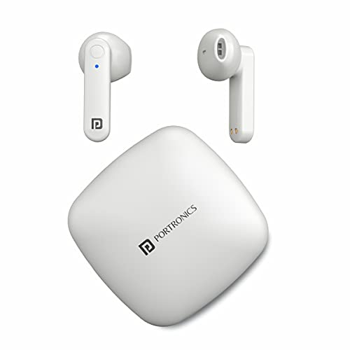 Portronics Harmonics Twins S2 Wireless Sports Earbuds Bluetooth 5.0 I Voice Assistant I 20 Hrs Playtime with Case I Type C Charging (White)