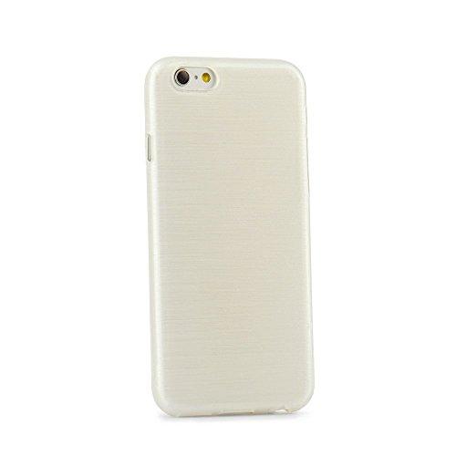 handy-point Aluminium gebürstet Optik metallic Gummihülle Silikonhülle Gummi Silikon Schale Schutzschale Schutzhülle Hülle für iPhone 6 Plus 6S Plus (5,5 Zoll) Weiß