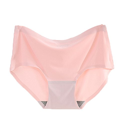 Warm Sun Womens Seamless Ice Silk Ultra-Thin Sexy Soild Color Plus Size Panties Pack Of 2 or 3 US Size XS-XXL/4-9 (8, Blue,Pink,Purple)