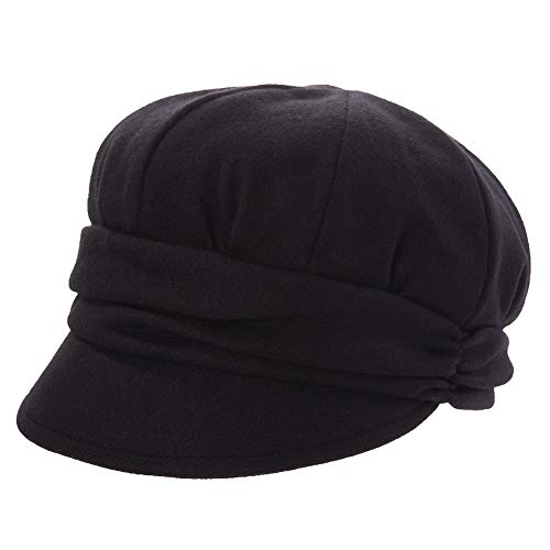 Packable Visor Beret Newsboy Cap for Women Ladies Winter Gatsby Adjustable Black Hat