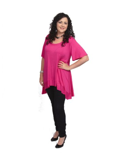 CANARI Women's Plus-Size Desere Scoop Neck Top 2X (18/20) Fuschia