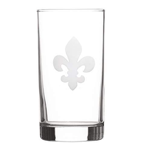 Fleur-de-Lis Highball Etched Tea Glass