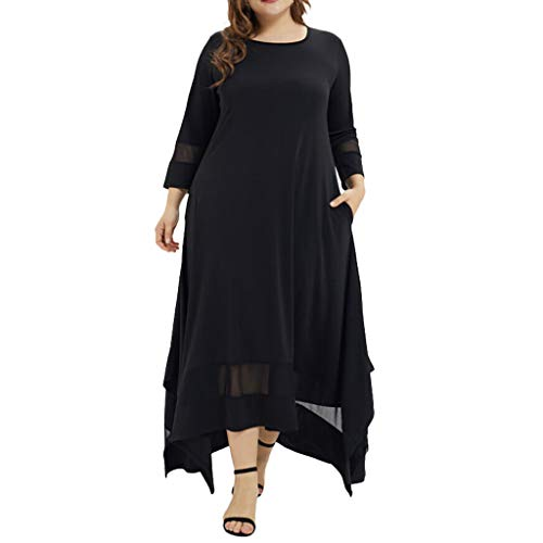 Plus Size Dresses for Women Long Sleeve Loose Solid Evening Gown Party Maxi Long Dress (XXXL, -