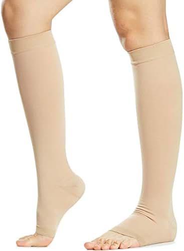 Beister Open Toe Knee High Calf Compression Socks for Women & Men, Firm 20-30 mmHg Graduated Support Hosiery for Varicose Veins, Edema, Flight, Pregnancy, Beige, X-Large