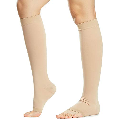 Beister Open Toe Knee High Calf Compression Socks for Women & Men, Firm 20-30 mmHg Graduated Support Hosiery for Varicose Veins, Edema, Flight, Pregnancy