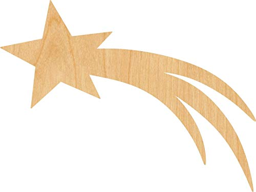 (Shooting Star Laser Cut Out Wood Shape Craft Supply - Woodcraft (1/8 Inch, 10