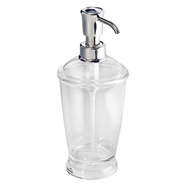 InterDesign Franklin Soap and Lotion Dispenser Pump, for Kitchen or Bathroom Countertops - Clear/Chrome