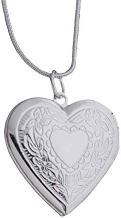 Heart Photo Locket Pendant Necklace 925 Sterling Silver New AU-571