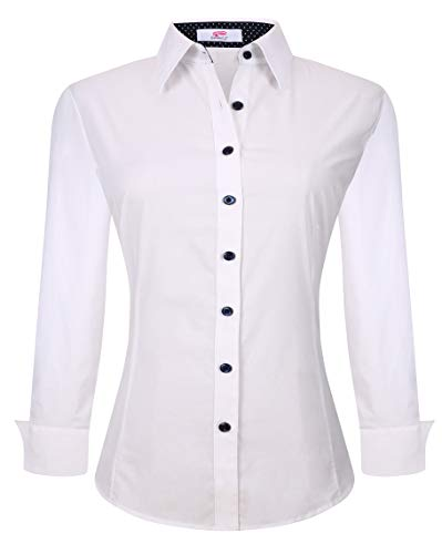 Esabel.C Womens Button Down Shirts Long Sleeve Regular Fit Cotton Stretch Work Blouse White XL