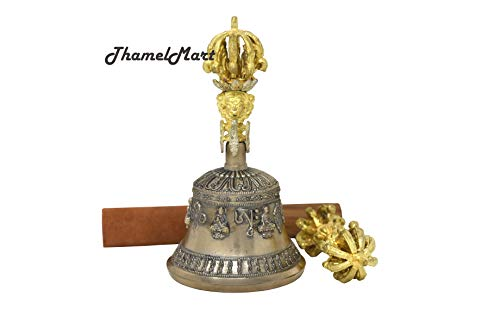 Tibetan Buddhist Meditation Bell and Dorje Set - Bell of Enlightenment from Nepal 7 Inches by thamelmart