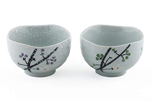 Ceramic Small Rice Bowl Set of 2 Snow Cherry Blossom Sakura Purple and Green Gift Pack Multi Purpose Dessert Snack Noodle Bowl Pair Couple