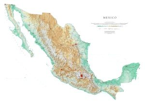 Mexico Topographic Wall Map by Raven Maps, Print on Paper (Non-Laminated) ()