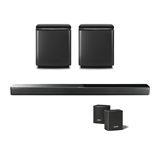 Bose Home Entertainment System with SoundTouch 300 Soundbar, Virtually Invisible 300 Wireless Surround Speakers (Pair), and Dual Sub Acoustimass 300 Wireless Bass Module, Black