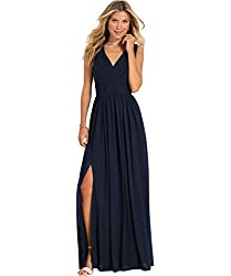 Yilis Women's V Neck Ruched Bodice A Line Slit Chiffon Bridesmaid Dress Long Evening Prom Dresses