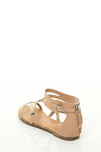 Breckelles Womens Ruby-61 Uitsparing Gladiator Sandaal Naturel