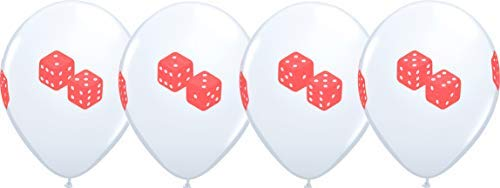 """11"""" Casino Night ROLL OF THE DICE 4 Sided Print White Latex Balloons 5 Count"""