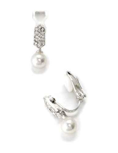 White Dangle Clip (Silver Crystal Pave Rhinestones Clip Earrings Tipped with Dangle White Pearl)