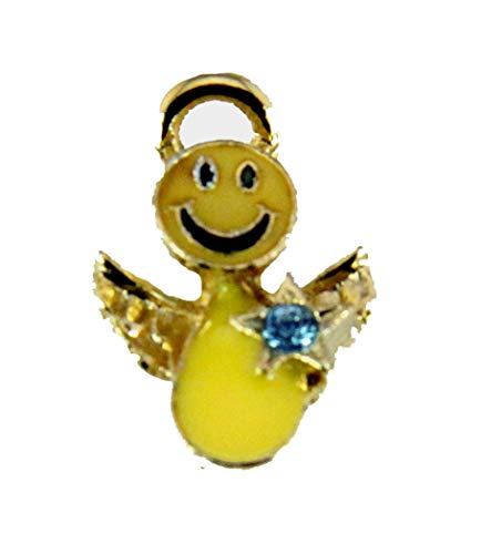 6030433 March Birth Month Smiley Face Angel Lapel Pin Brooch Tie Tack Be Happy Don't Worry Halo